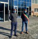 Pierpaolo Florian (ad di ATS) e Matteo Guidolin (sindaco di Riese) davanti a sede Riese Pio X