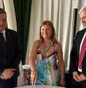 Da sinistra, Domenico Battiloro, ex-presidente, Francesca Genovese, attuale Presidente, ed Eddi Frezza, Governatore eletto.