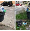 Cestini ricolmi di rifiuti a Castelfranco
