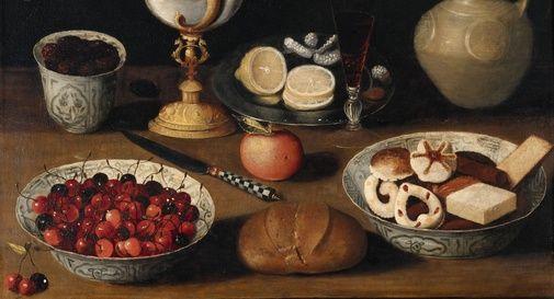 Scuola di Georg Flegel (1566-1638), 'Natura morta con ciliegie e biscotti'