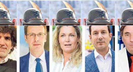 Conegliano, l'ironia del web: nel fotomontaggio i candidati hanno tutti il cappello degli Alpini