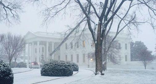 Freddo polare negli Usa, Washington sotto la neve: imbiancata anche la Casa Bianca