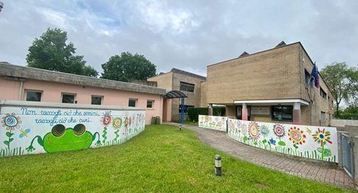 Il murales realizzato dai bambini della scuola dell'infanzia Pio X a Scandolara