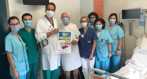 Nonno Angelo e l'equipe di cardiologia di Conegliano