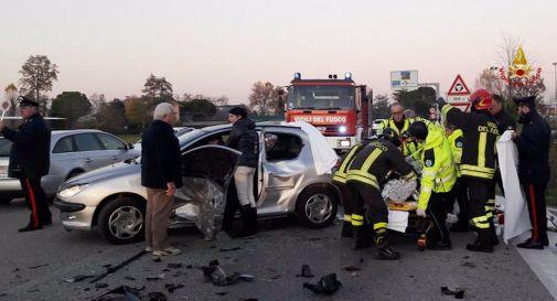 un'immagine dell'incidente di oggi pomeriggio a Oderzo