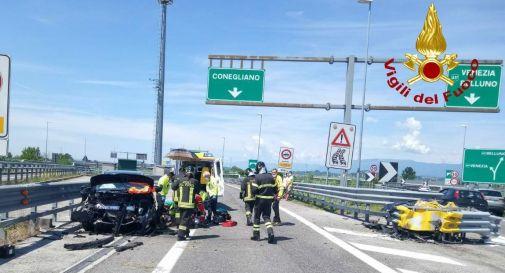 Schianto in A28 a Conegliano: ferito un automobilista