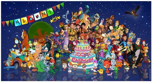 La torta di compleanno circondata da 100 characters prodotti da Gruppo Alcuni