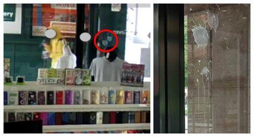 Fotogramma del filmato e la vetrina sporcata