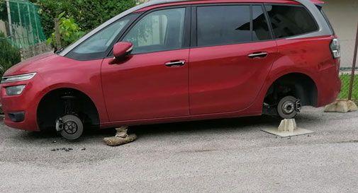 Conegliano, parcheggiano l'auto sotto casa e il mattino dopo la trovano senza ruote