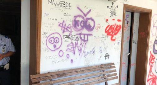 Muro casa custode villa papadopoli vandalizzato
