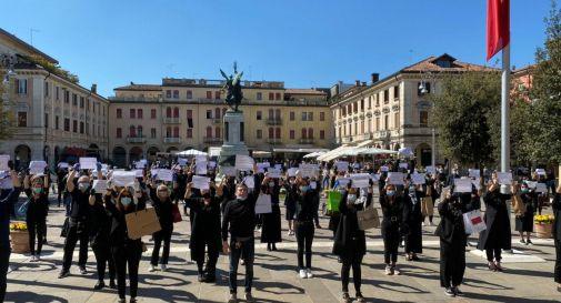 la protesta di questa mattina