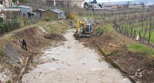 Intervento di pulizia del torrente Raboso a Col San Martino
