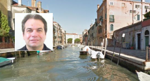 Rio San Girolamo a Venezia e, nel riquadro, Stefano Carta