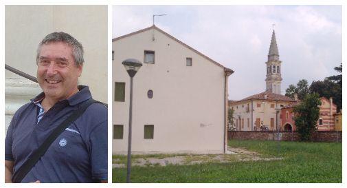 A sx: Roberto Stangherlin, presidente del comitato frazionale. A dx: il retro di Casa Barbarella