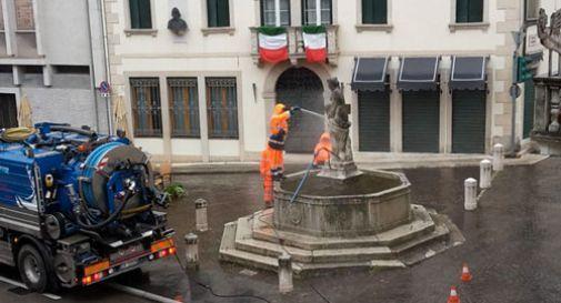Fontana degli Arditi pulita con l'idrogetto: