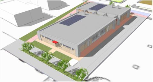 Rendering del progetto del nuovo centro polivalente, vista da Nord-Ovest