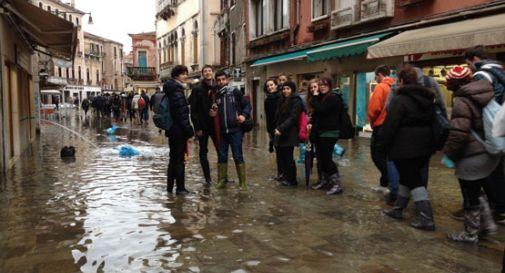 Maltempo, acqua alta a Venezia